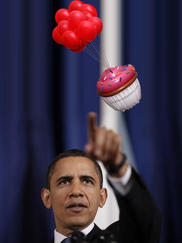 Obama cupcake balloon